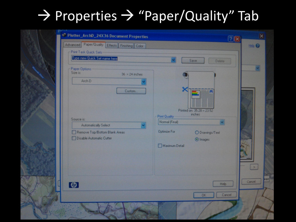 " Properties  ""Paper/Quality"" Tab"