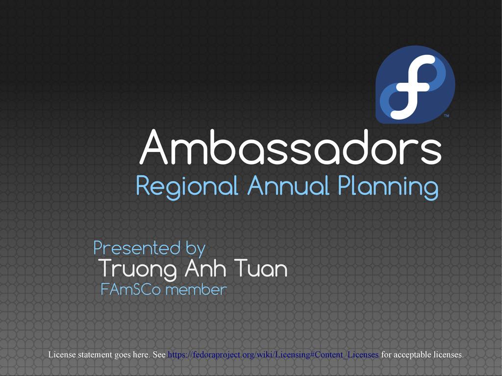 Regional Annual Planning Truong Anh Tuan Presen...