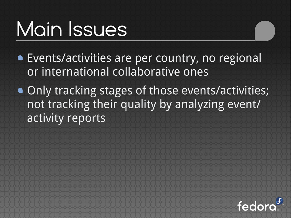 Events/activities are per country, no regional ...