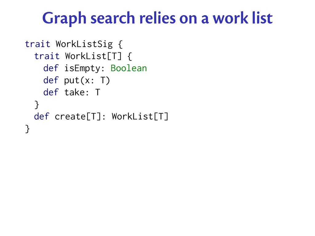 Graph search relies on a work list trait WorkLi...