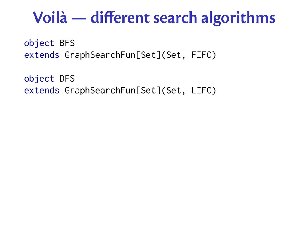 Voilà — different search algorithms object BFS e...