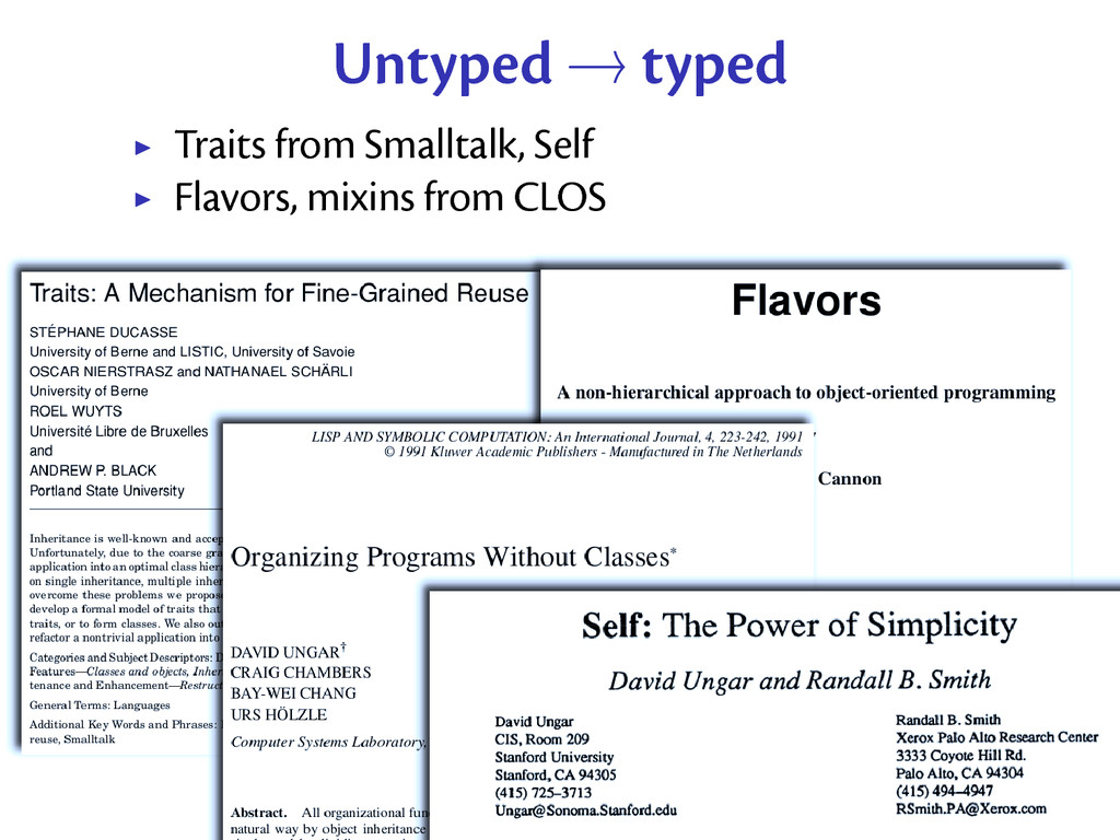 Untyped → typed Traits from Smalltalk, Self Fla...