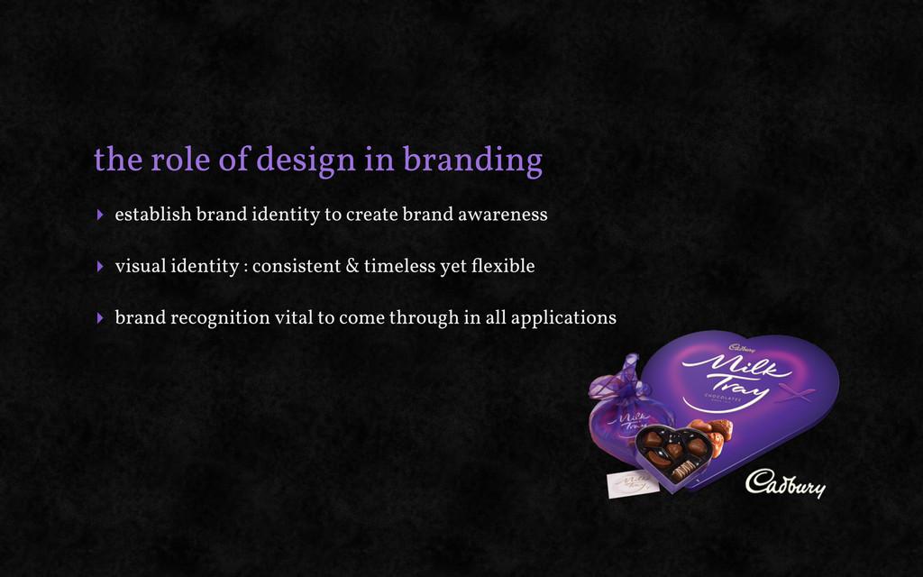 the role of design in branding ‣ establish bran...