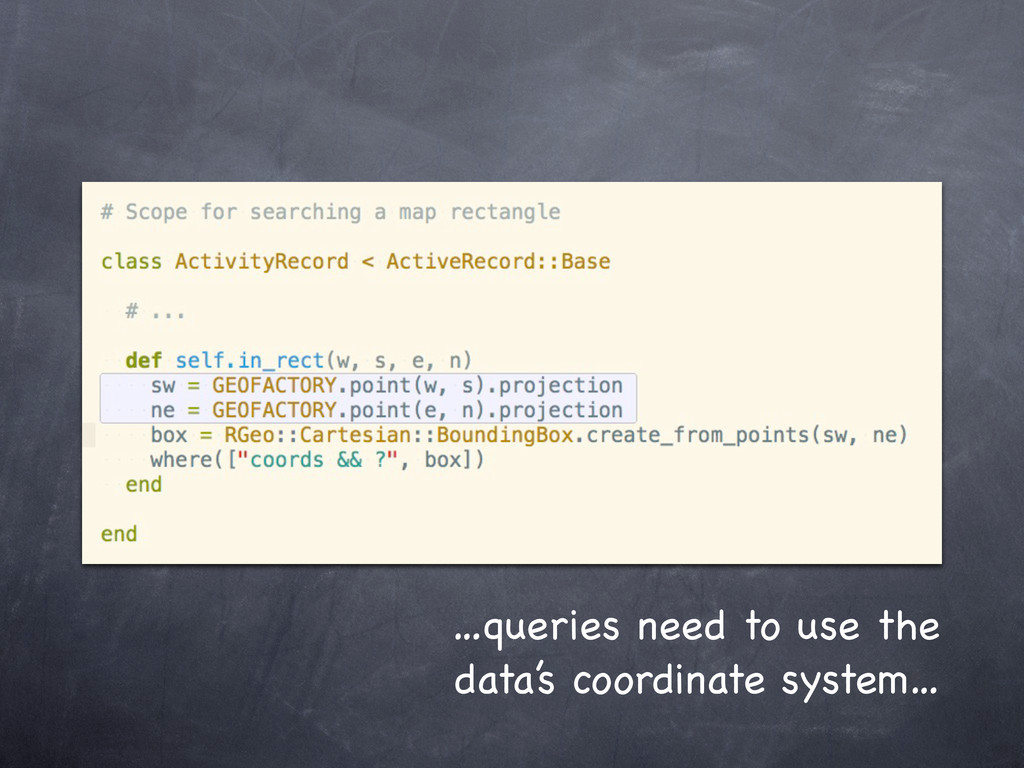 …queries need to use the data's coordinate syst...