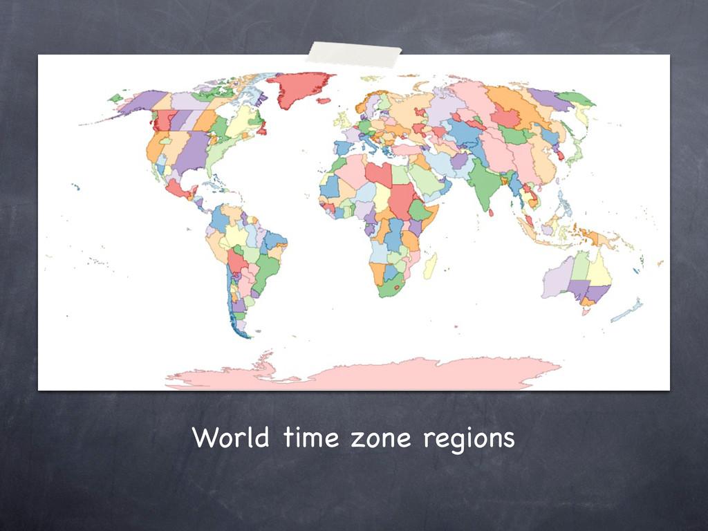 World time zone regions