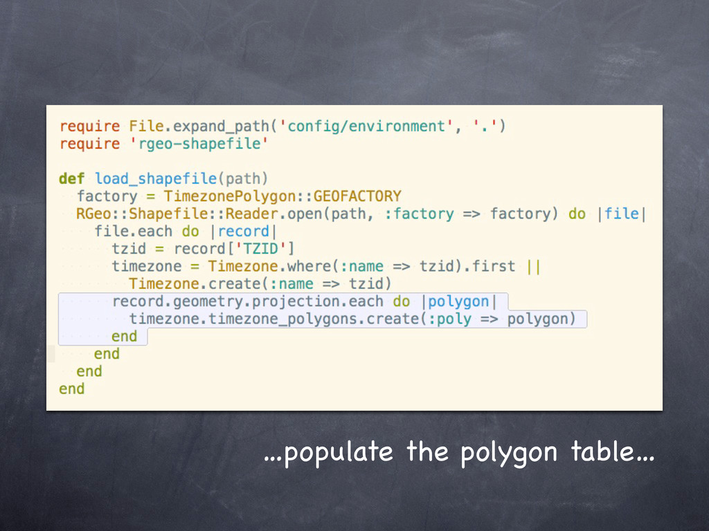 …populate the polygon table…
