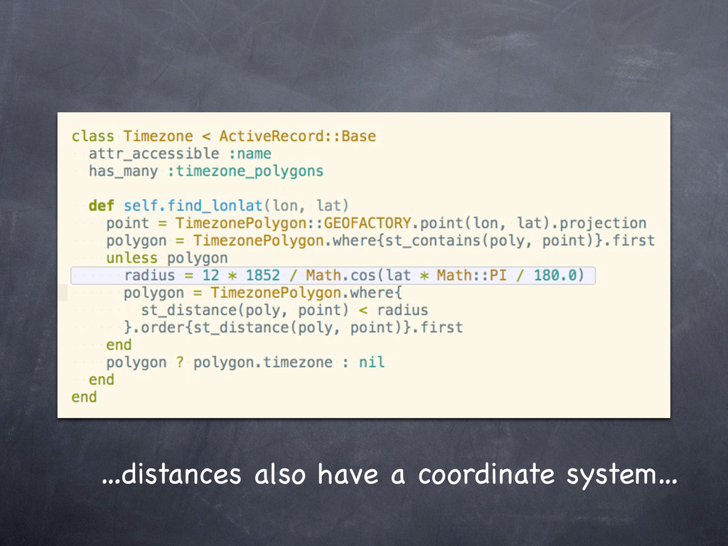 …distances also have a coordinate system…