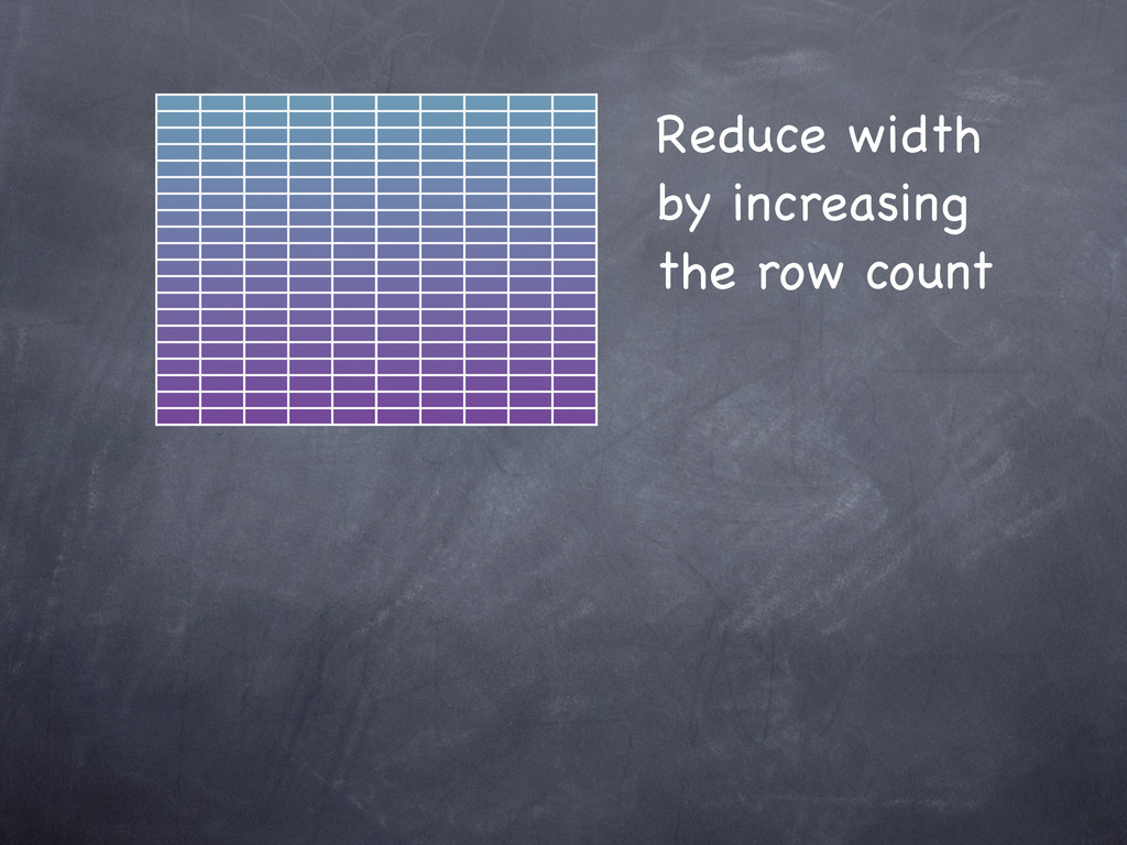 Reduce width by increasing the row count