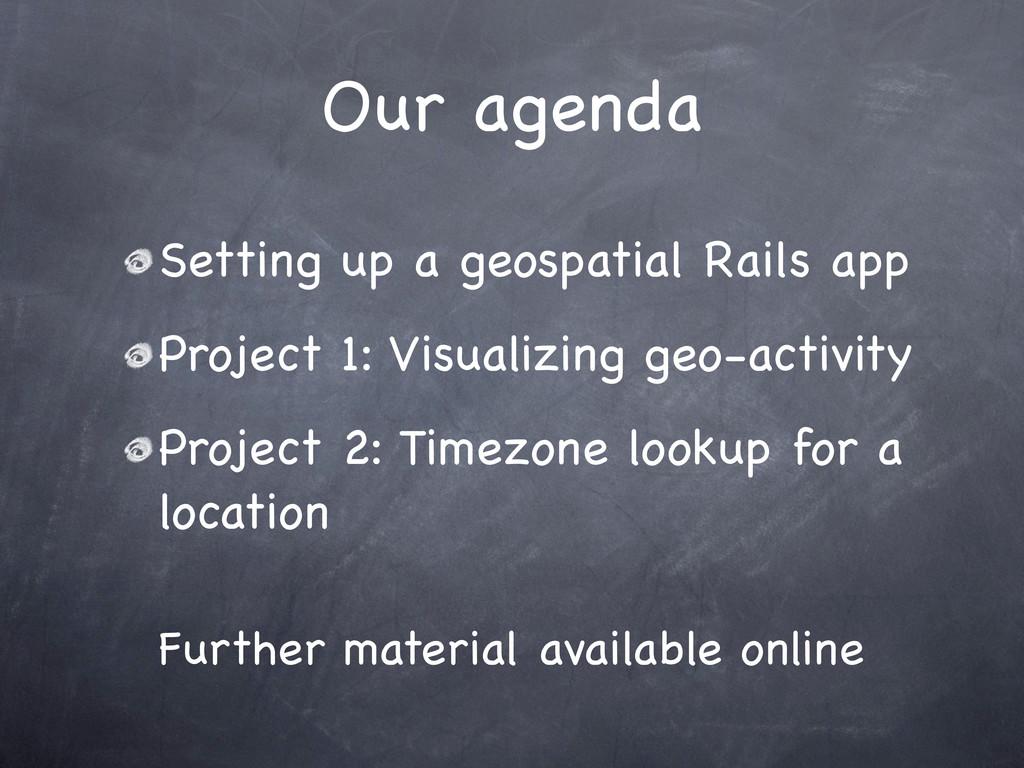 Our agenda Setting up a geospatial Rails app Pr...