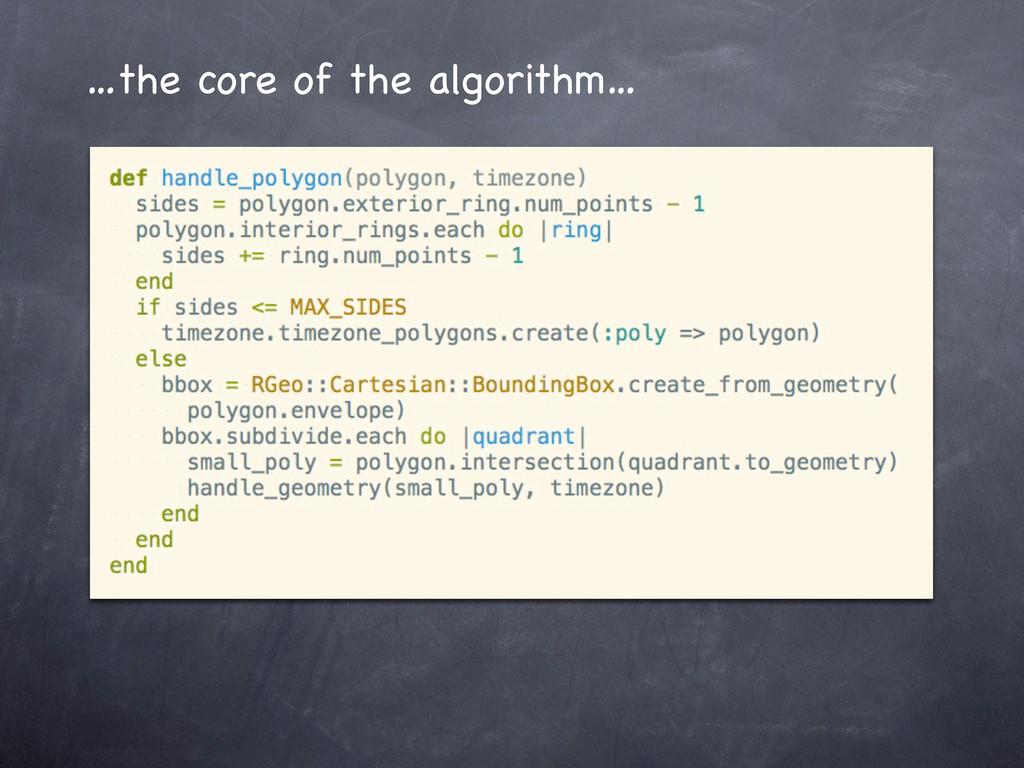 …the core of the algorithm…
