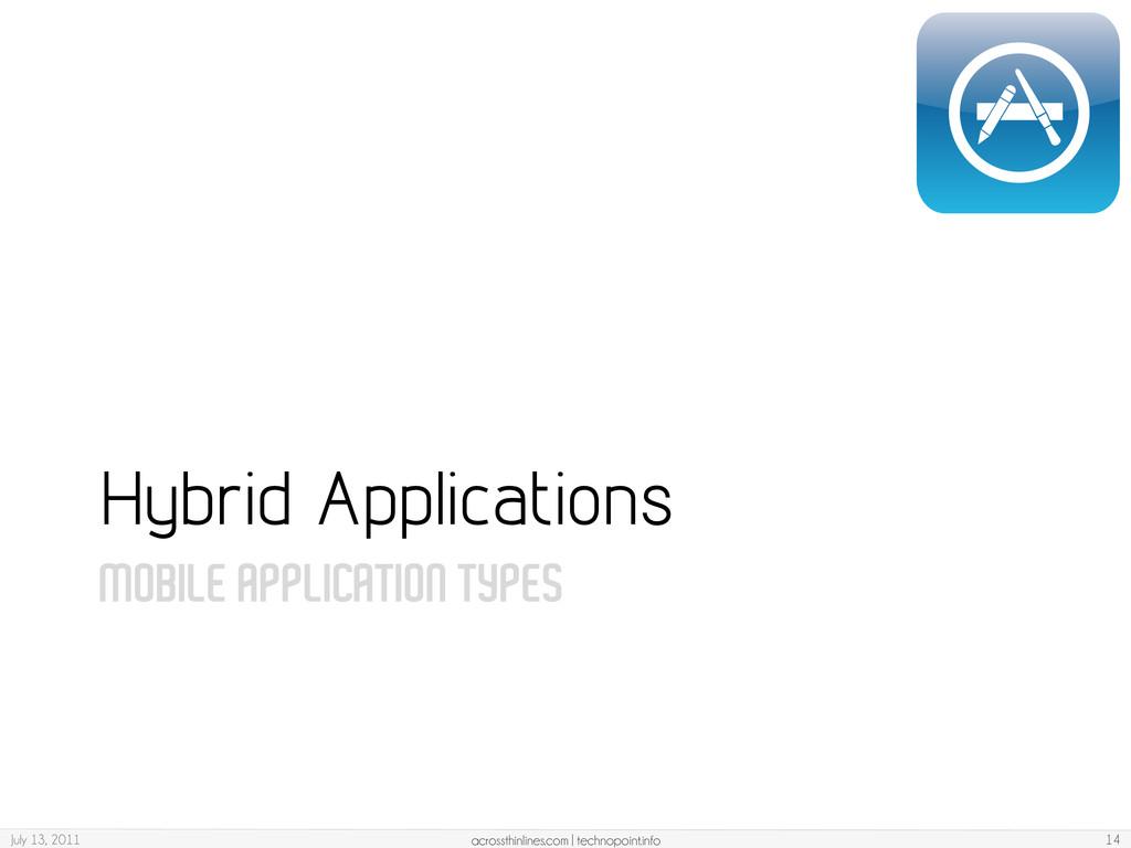 MOBILE APPLICATION TYPES Hybrid Applications Ju...