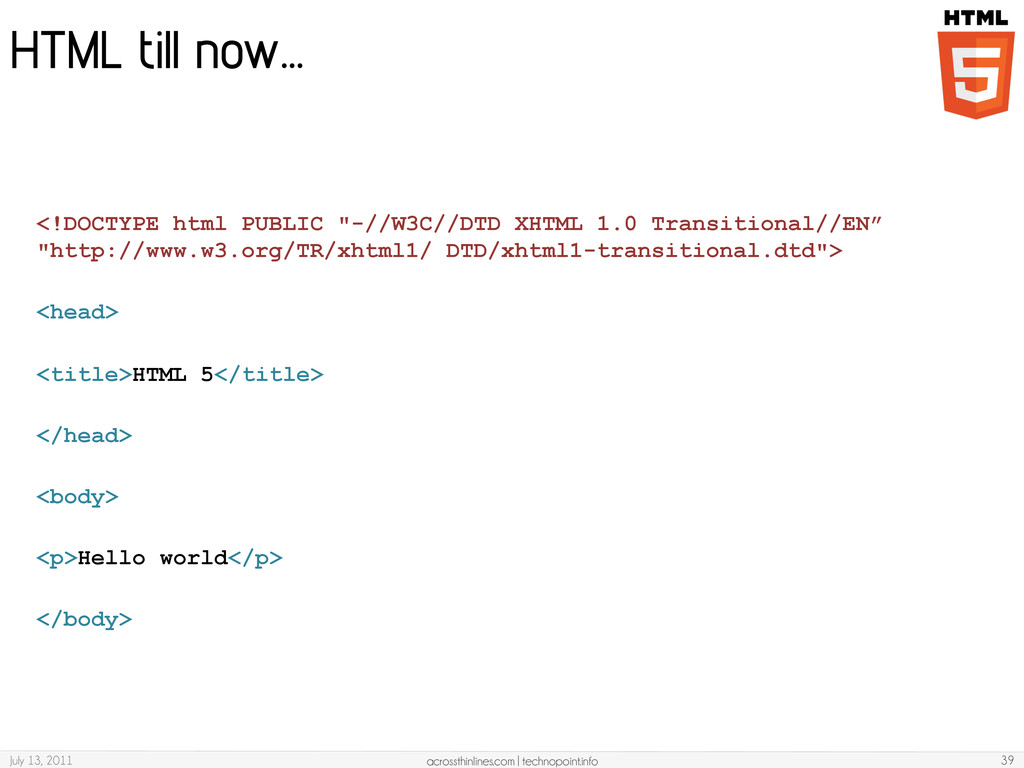 HTML till now… July 13, 2011 acrossthinlines.co...