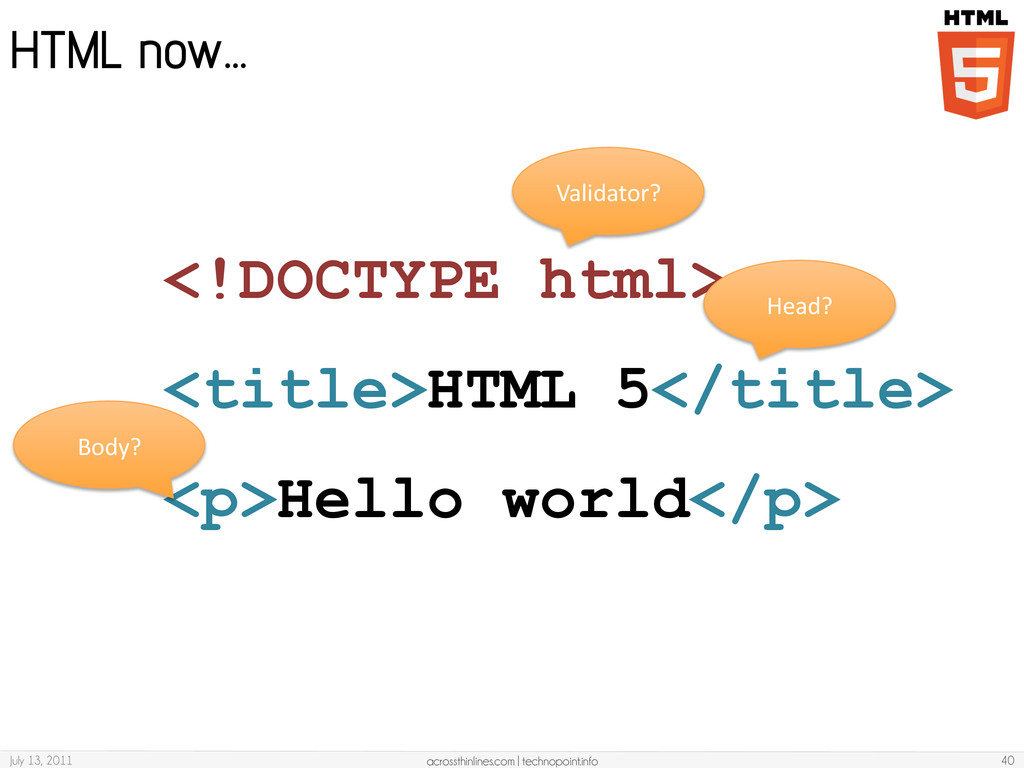 HTML now… July 13, 2011 acrossthinlines.com   t...