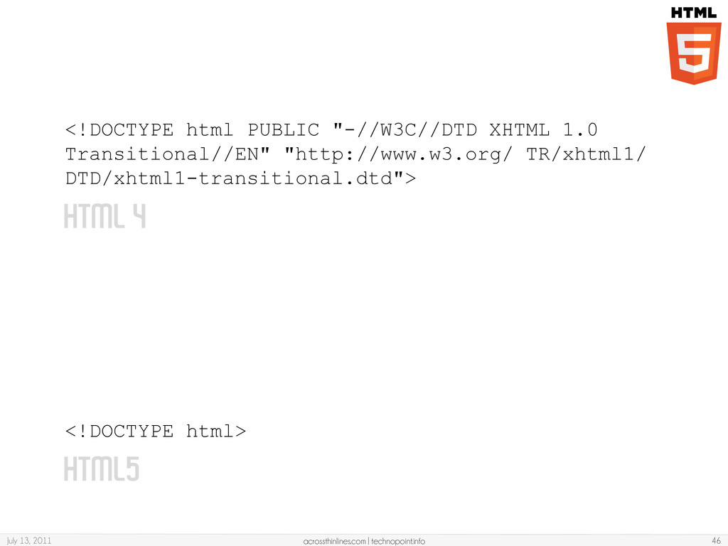 HTML 4 <!DOCTYPE html> July 13, 2011 acrossthin...