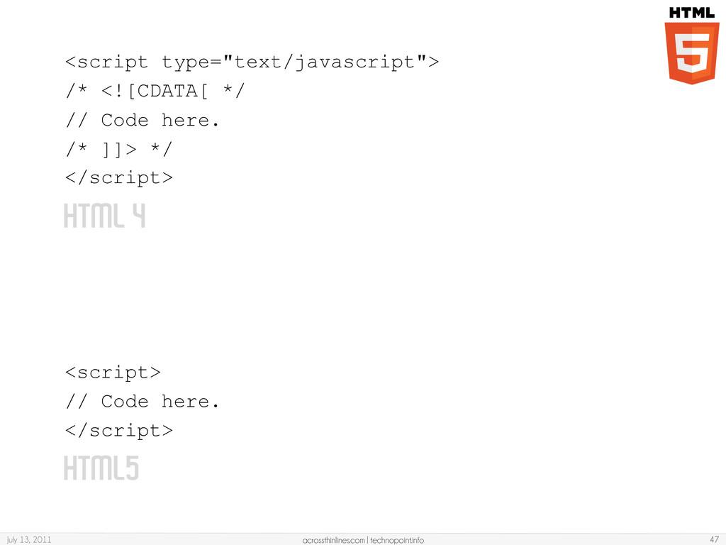 HTML 4 <script> // Code here. </script> July 13...
