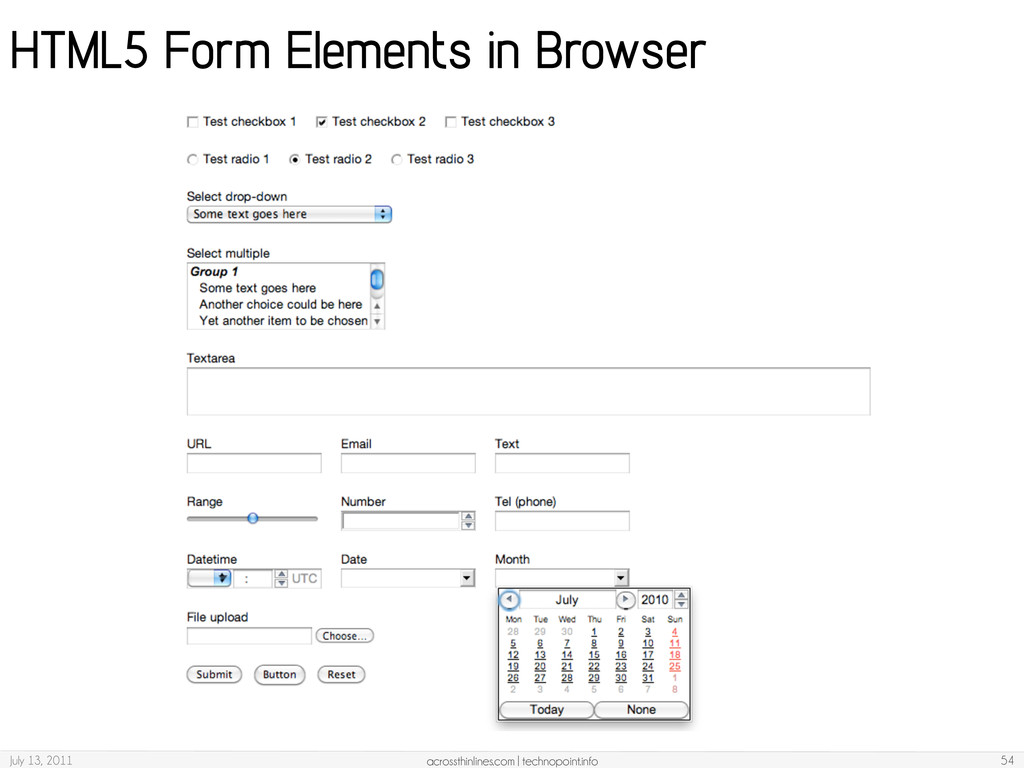 HTML5 Form Elements in Browser July 13, 2011 ac...
