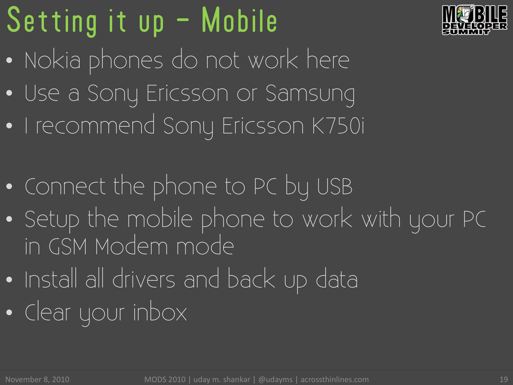 Setting it up - Mobile • Nokia phones do not w...