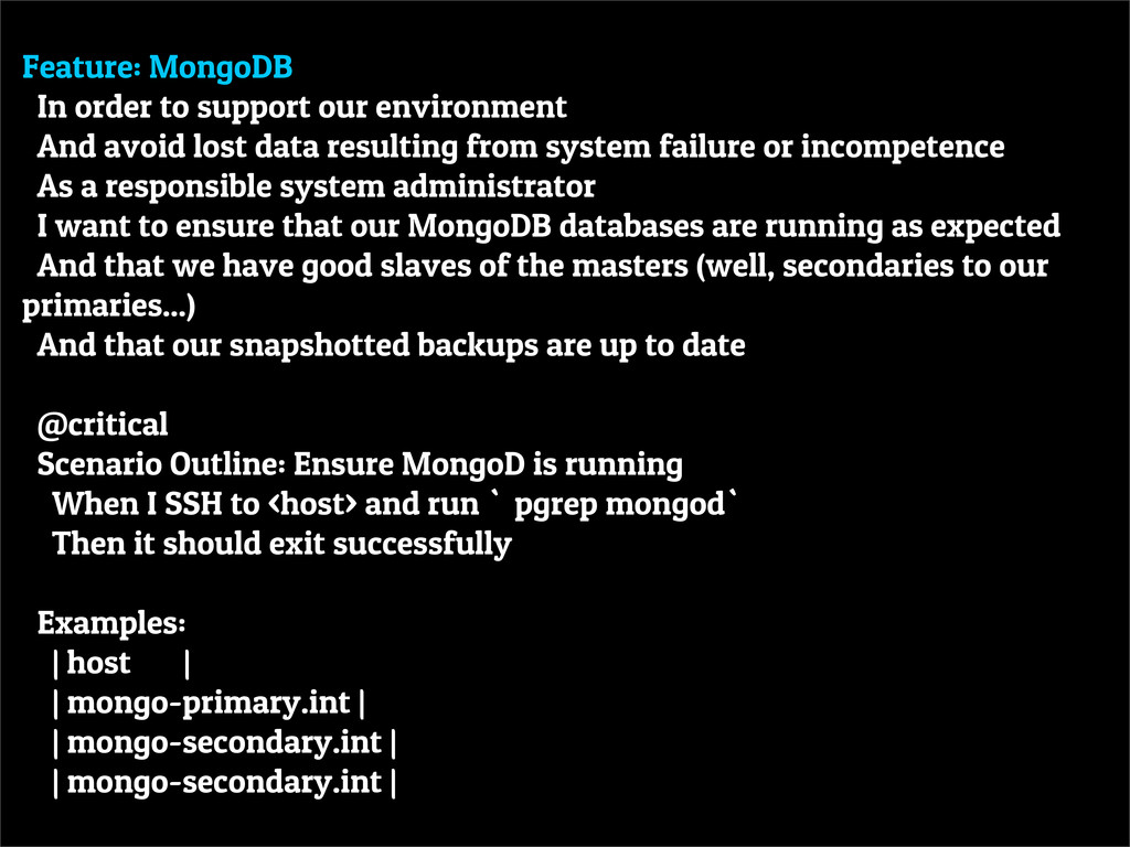 Feature: MongoDB In order to support our enviro...
