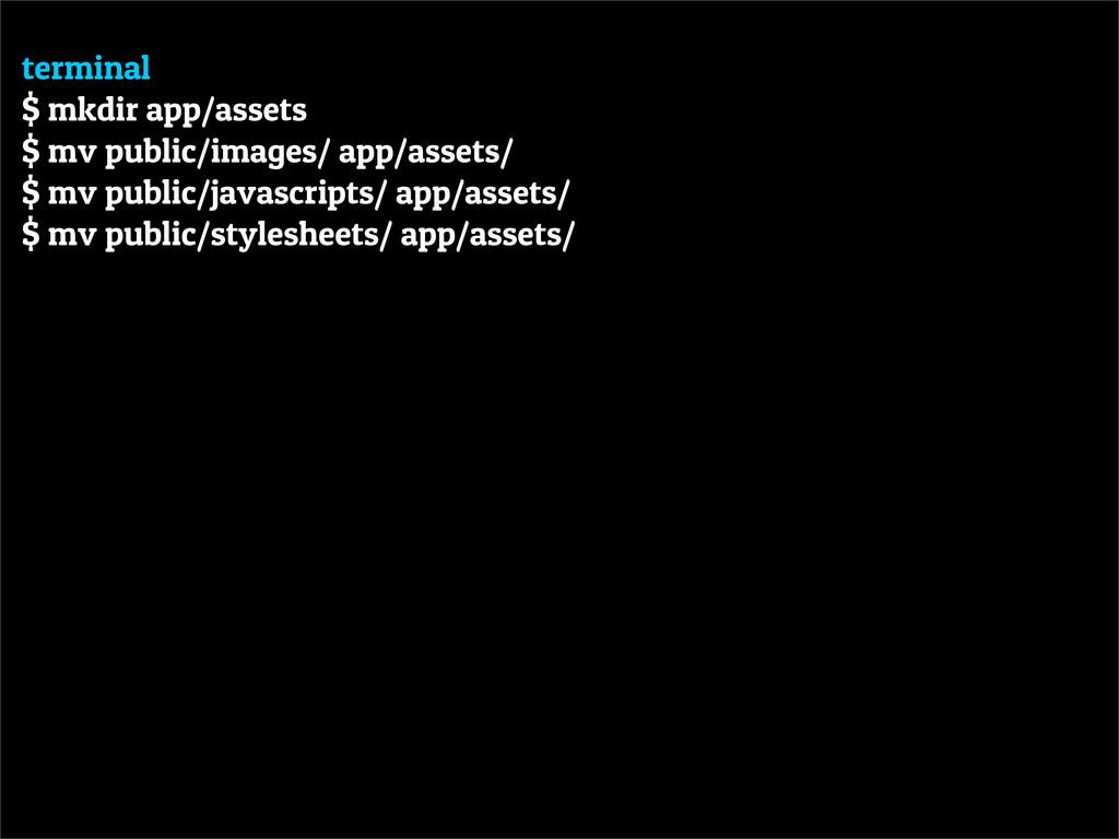 terminal $ mkdir app/assets $ mv public/images/...