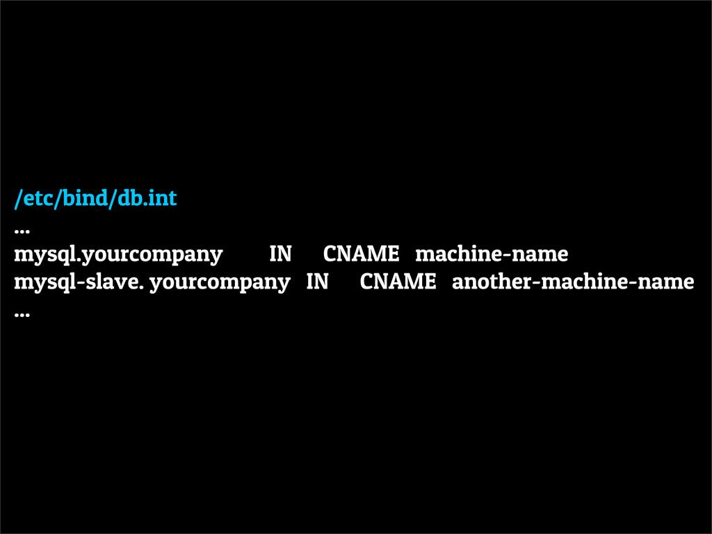 /etc/bind/db.int ... mysql.yourcompany IN CNAME...