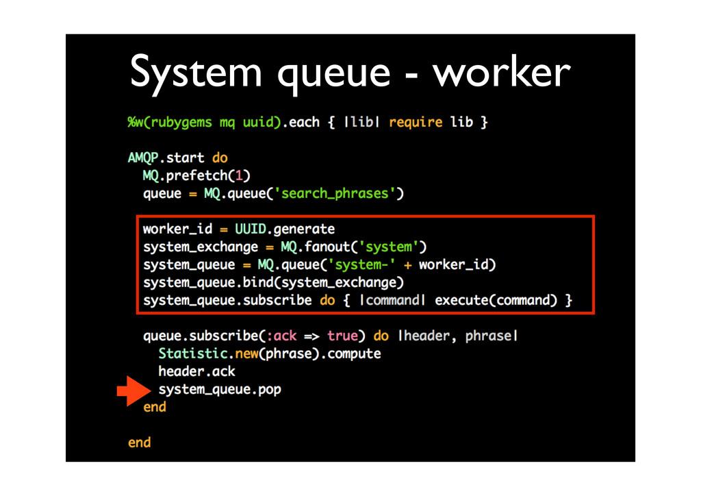 System queue - worker
