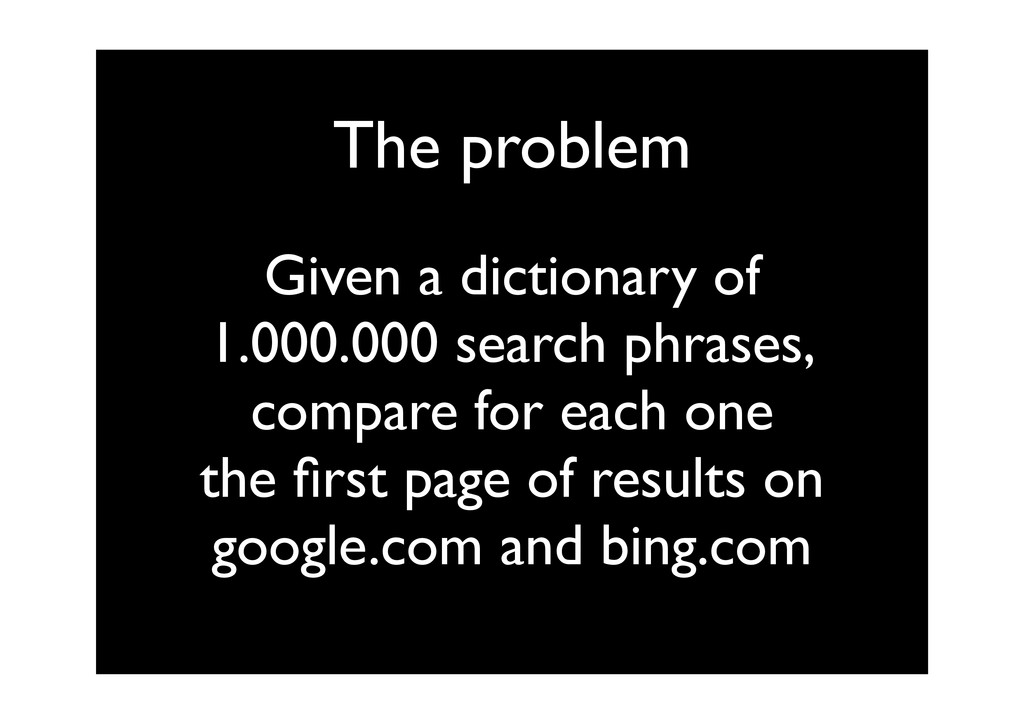 The problem Given a dictionary of 1.000.000 sea...
