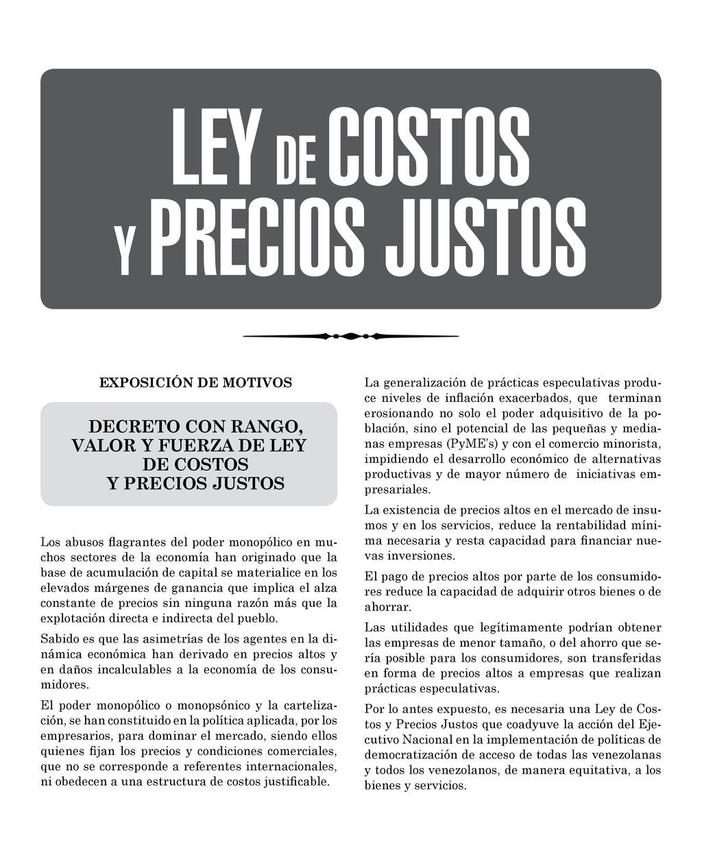 EXPOSICIÓN DE MOTIVOS DECRETO CON RANGO, VALOR ...