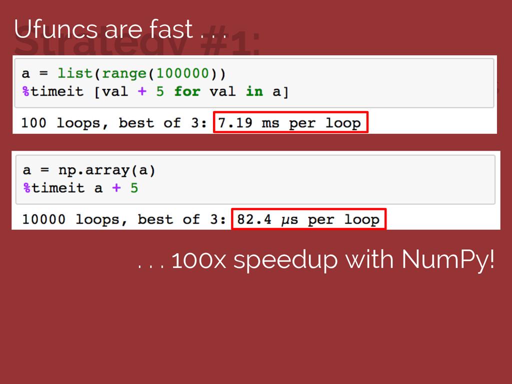 Use NumPy's ufuncs Strategy #1: Ufuncs are fast...
