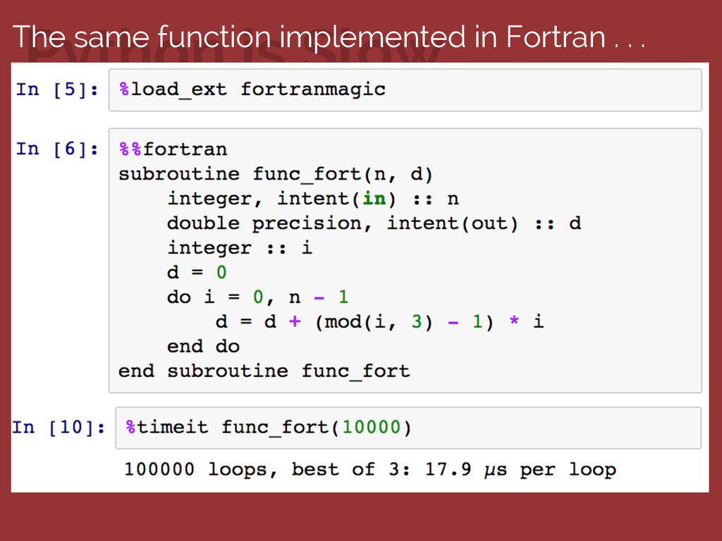 Python is Slow The same function implemented in...