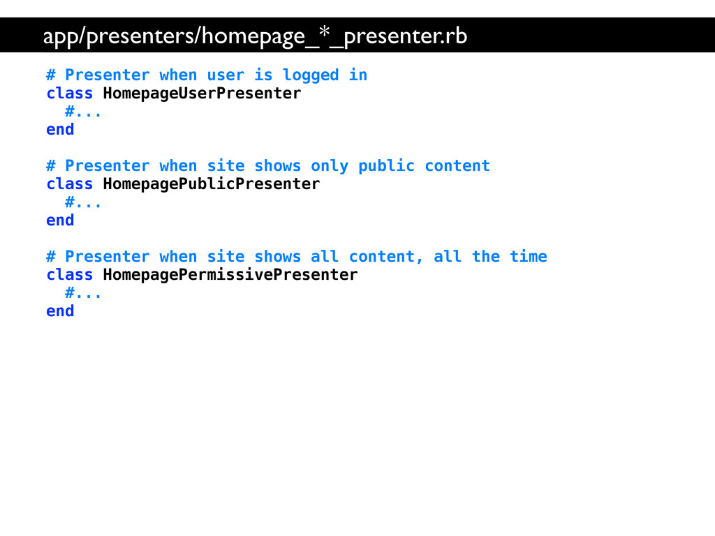 # Presenter when user is logged in class Homepa...