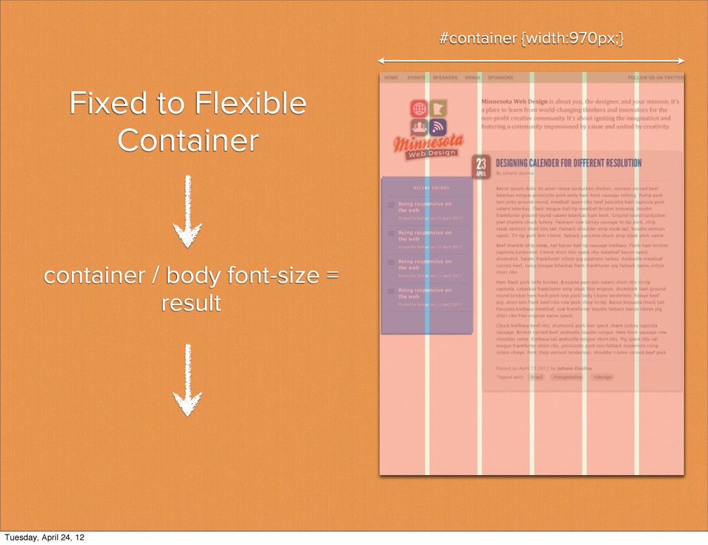 Fixed to Flexible Container #container {width:9...