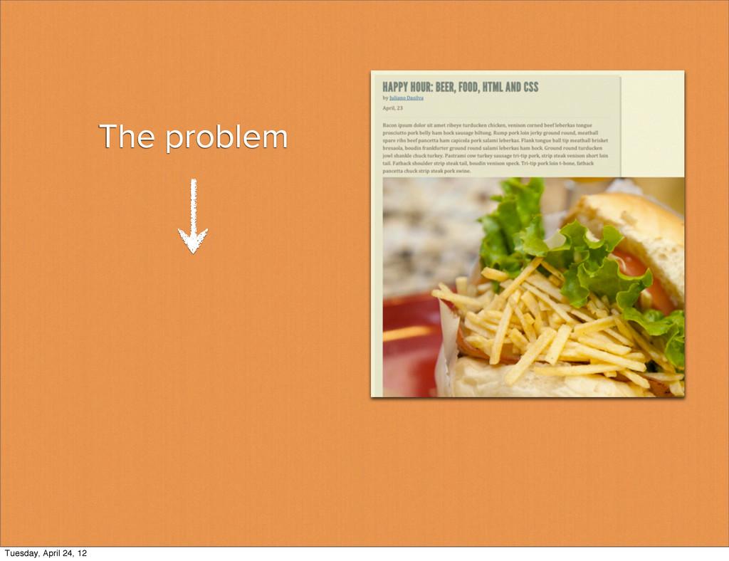 The problem Tuesday, April 24, 12