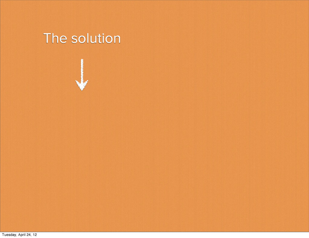 The solution Tuesday, April 24, 12