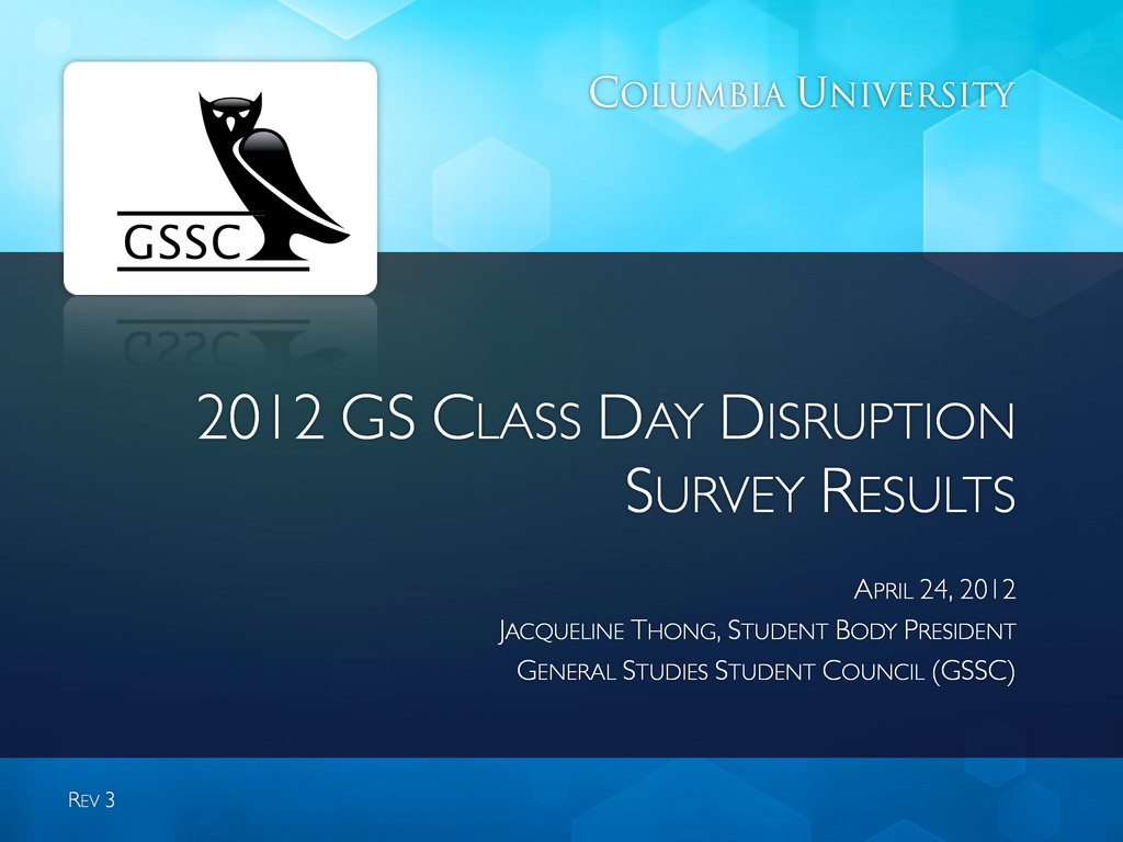 2012 GS CLASS DAY DISRUPTION SURVEY RESULTS APR...