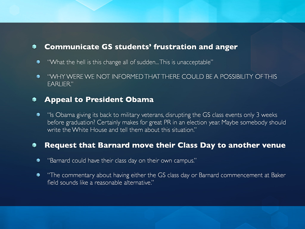 Communicate GS students' frustration and anger ...