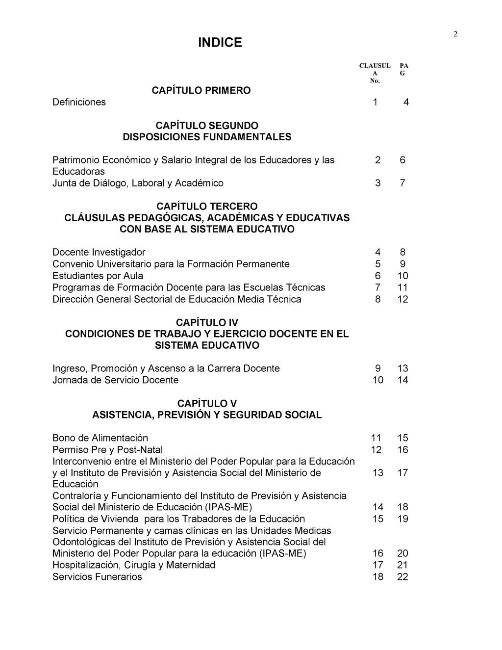 2 CLAUSUL A No. PA G CAPÍTULO PRIMERO Definicio...