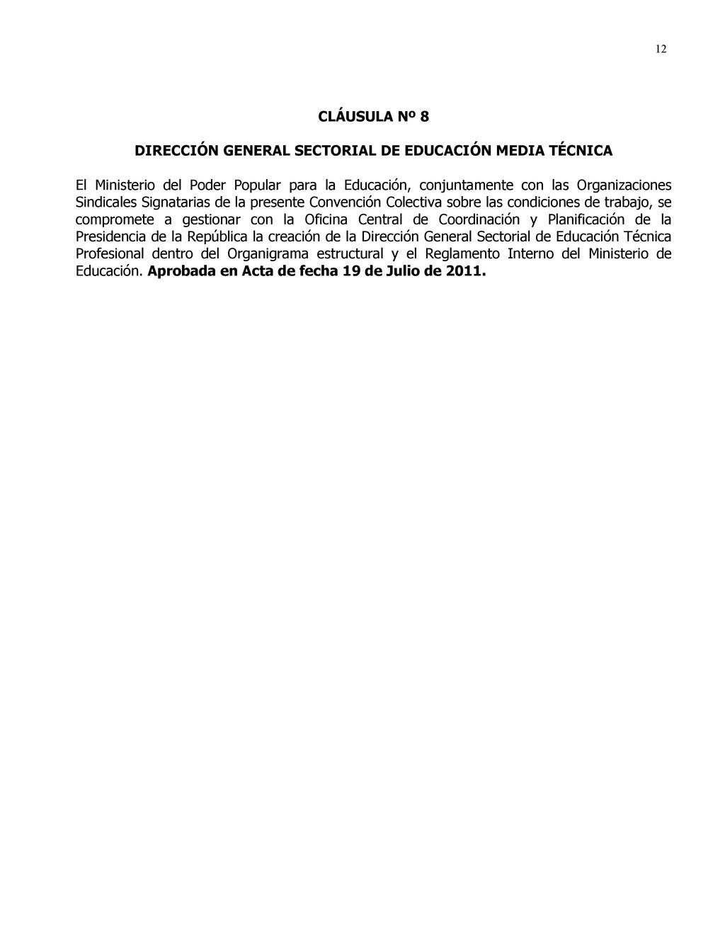 12 CLÁUSULA Nº 8 DIRECCIÓN GENERAL SECTORIAL DE...