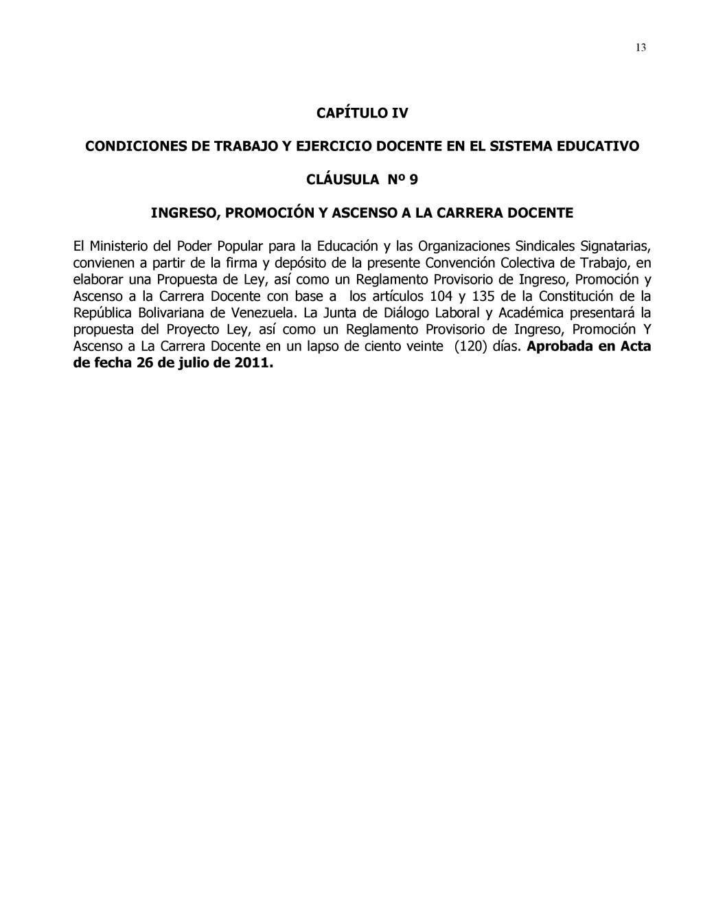 13 CAPÍTULO IV CONDICIONES DE TRABAJO Y EJERCIC...