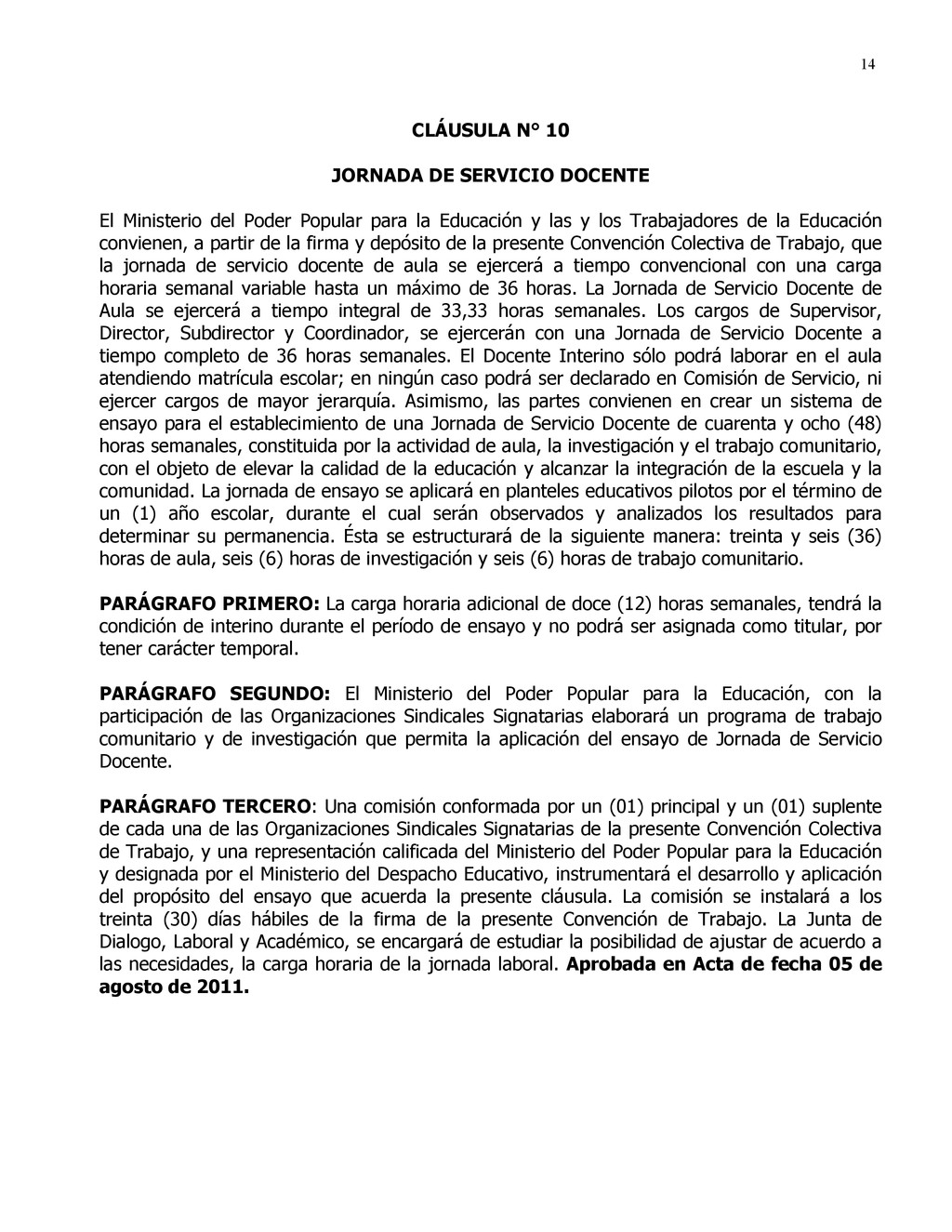 14 CLÁUSULA N° 10 JORNADA DE SERVICIO DOCENTE E...