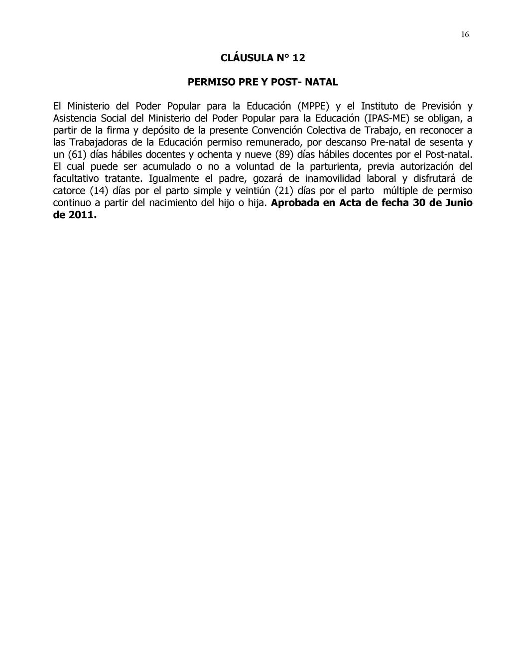 16 CLÁUSULA N° 12 PERMISO PRE Y POST- NATAL El ...