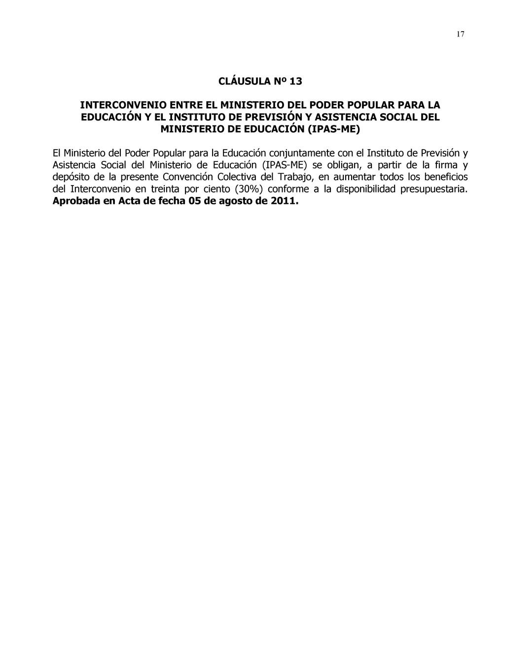 17 CLÁUSULA Nº 13 INTERCONVENIO ENTRE EL MINIST...