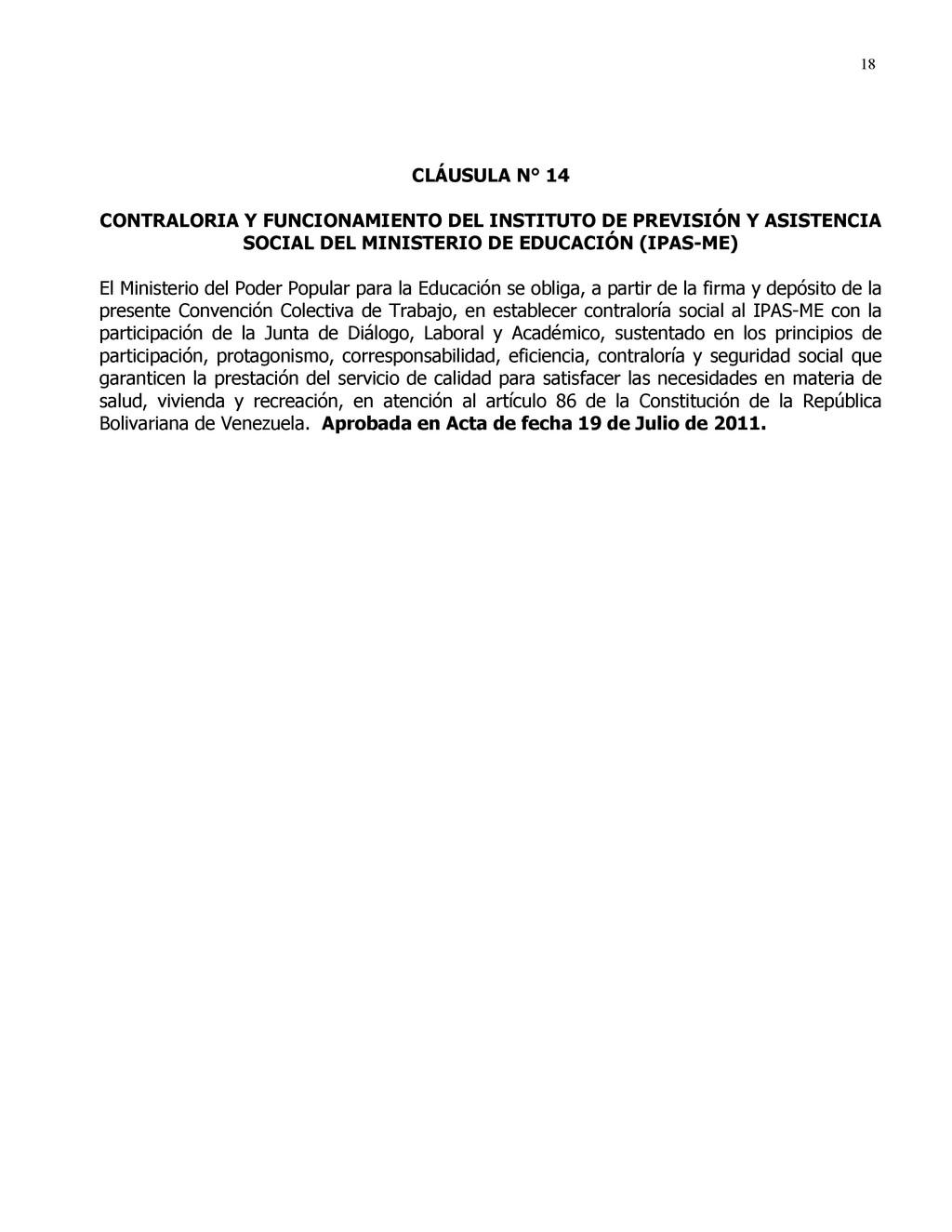 18 CLÁUSULA N° 14 CONTRALORIA Y FUNCIONAMIENTO ...