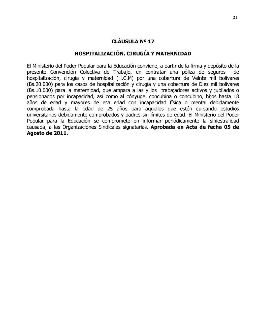 21 CLÁUSULA Nº 17 HOSPITALIZACIÓN, CIRUGÍA Y MA...