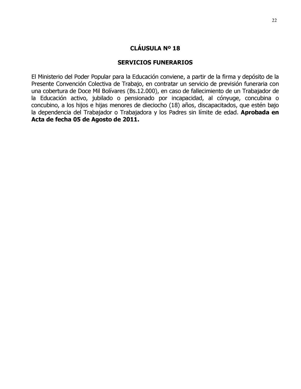 22 CLÁUSULA Nº 18 SERVICIOS FUNERARIOS El Minis...