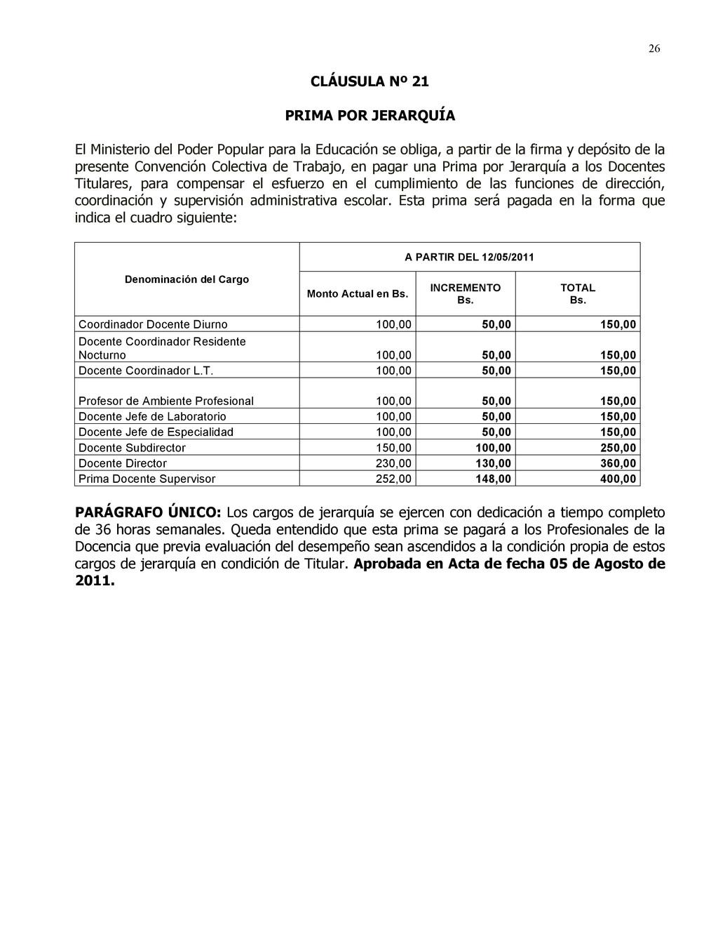 26 CLÁUSULA Nº 21 PRIMA POR JERARQUÍA El Minist...