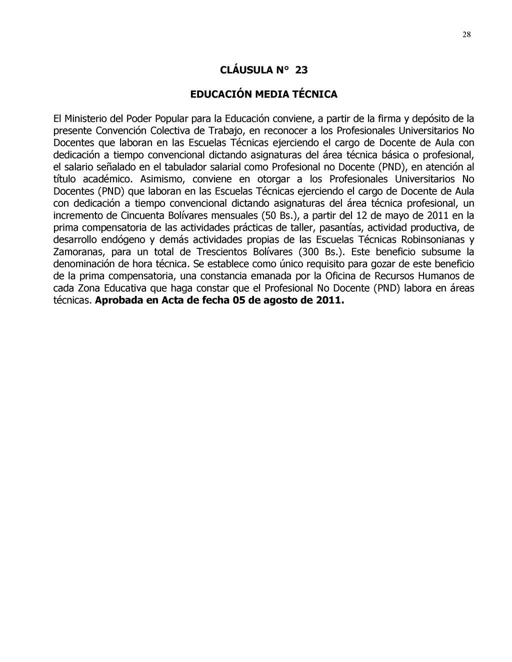 28 CLÁUSULA N° 23 EDUCACIÓN MEDIA TÉCNICA El Mi...