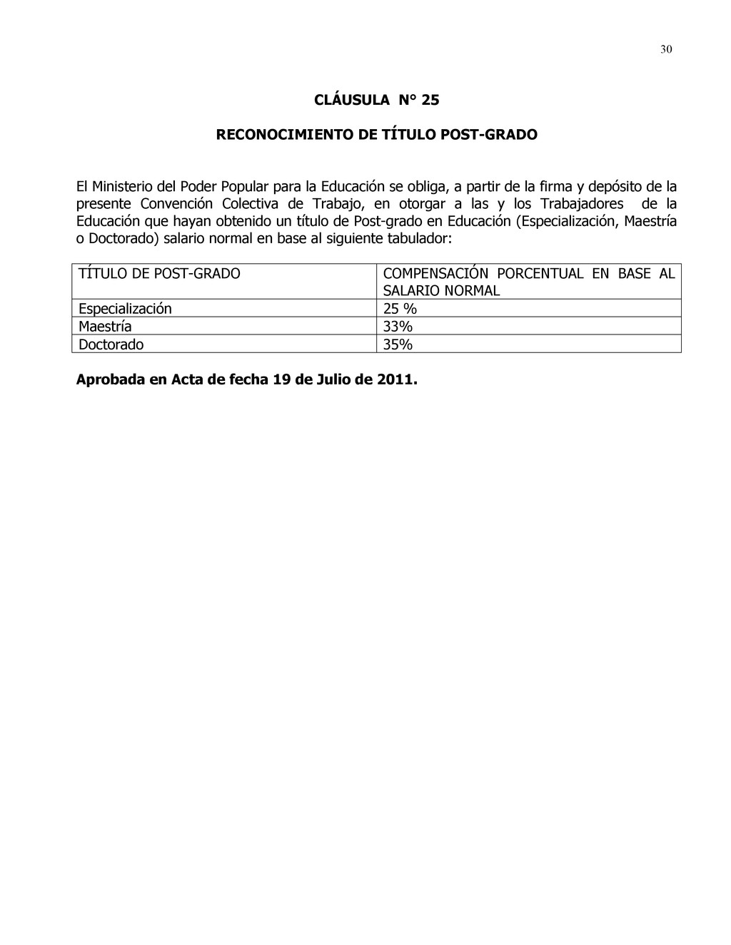 30 CLÁUSULA N° 25 RECONOCIMIENTO DE TÍTULO POST...