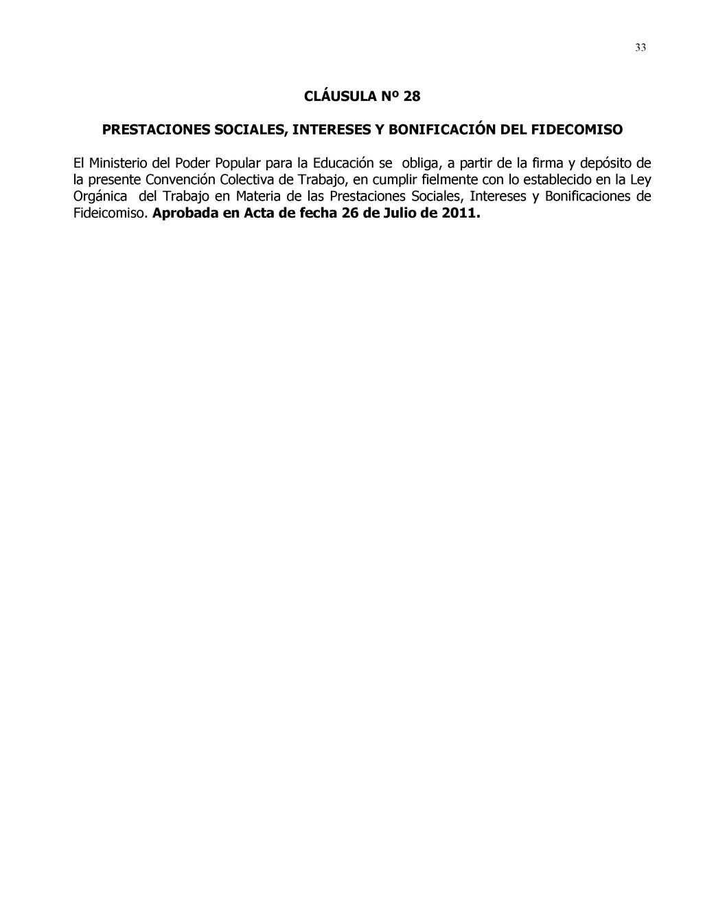 33 CLÁUSULA Nº 28 PRESTACIONES SOCIALES, INTERE...