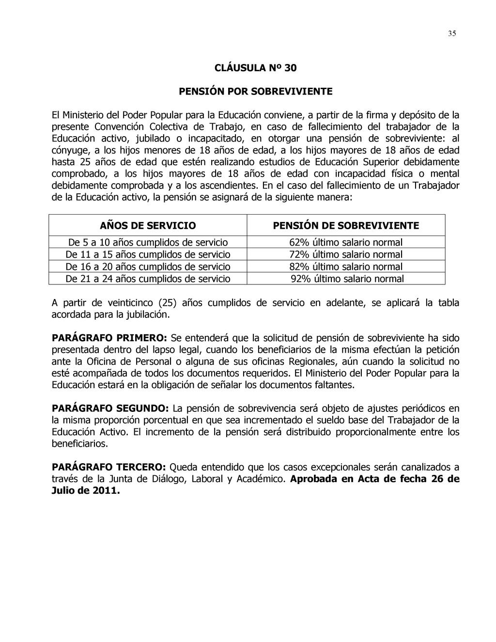 35 CLÁUSULA Nº 30 PENSIÓN POR SOBREVIVIENTE El ...