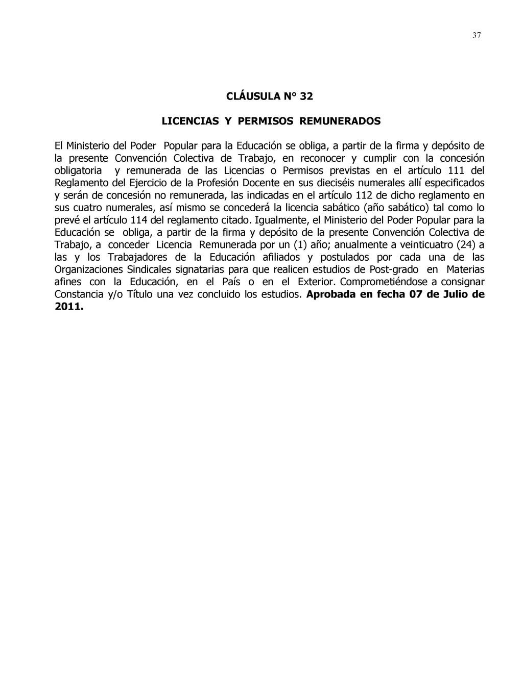 37 CLÁUSULA N° 32 LICENCIAS Y PERMISOS REMUNERA...